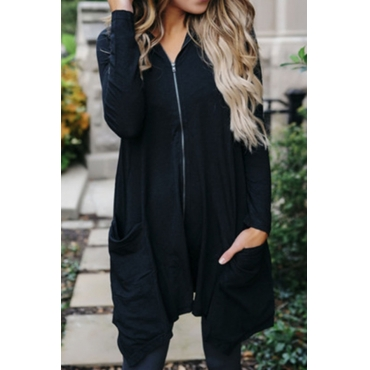 Lovely Casual Hooded Collar Zipper Design Black Polyester Long Hoodies