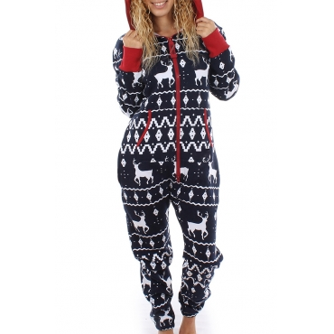 Euramerican Hooded Collar Christmas Printed Designs Polyester One-piece Jumpsuits