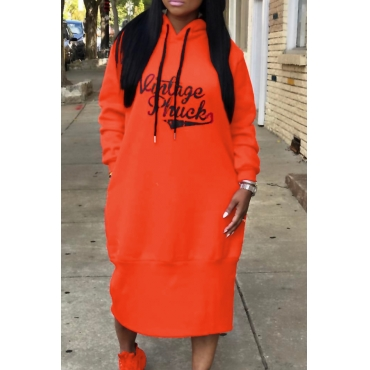 Casual Hooded Collar Letters Printed Orange Polyester Mid Calf Dress