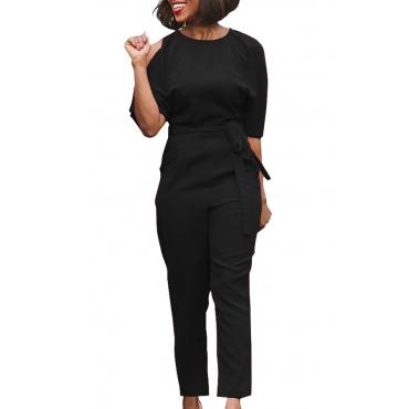 Euramerican Round Neck Dew Shoulder Black Polyester One-piece Jumpsuits