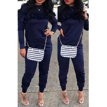 Casual Round Neck Pleated Design Deep Blue Cotton Two-piece Pants Set