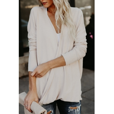 Lovely Stylish V Neck Long Sleeves Apricot Pullovers Sweaters & Cardigans