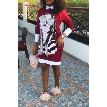Casual Turndown Collar Cartoon Characters Printed Red Polyester Mini Dress
