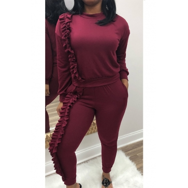 Casual Round Neck Ruffle Design Wine Red Blending Two-piece Pants Set