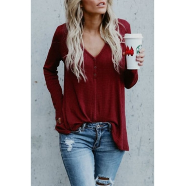 Lovely Trendy V Neck Button Decorative Wine Red Blending Sweaters