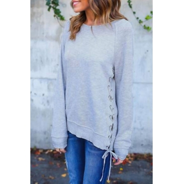 Lovely Leisure Round Neck Lace-up Grey Blending  Sweats