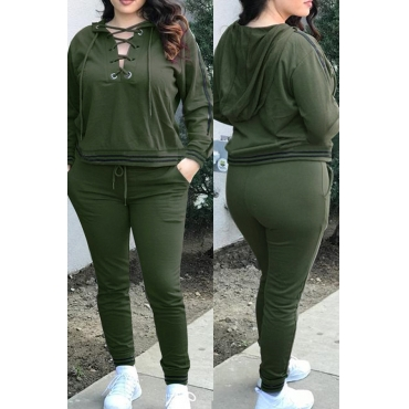Casual Hooded Collar Lace-up Hollow-out Army Green Polyester Two-piece Pants Set