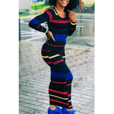 Fashion Round Neck Stripe Printed Black Polyester Ankle Length Dress