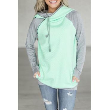Lovely Leisure Hooded Collar Patchwork Green Blending Hoodies