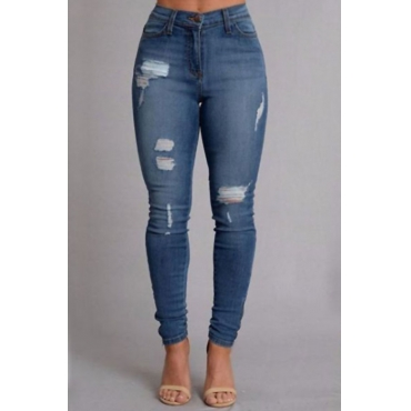 Trendy High Waist Broken Holes Deep Blue Denim Pants