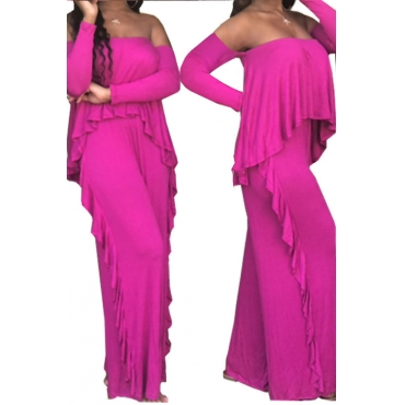 Casual Strapless Fold Design Rose Red Polyester One-piece Jumpsuits
