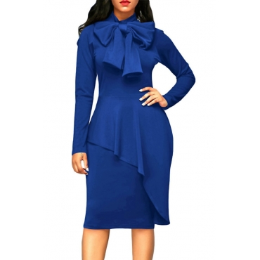 Trendy Turtleneck Bow-Tie Design Navy Blue Polyester Sheath Knee Length Dress