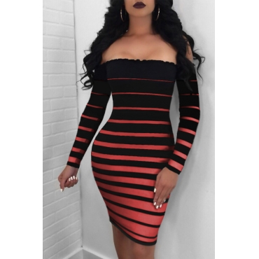 Sexy Dew Shoulder Striped Black-red Cotton Blend Sheath Mini Dress
