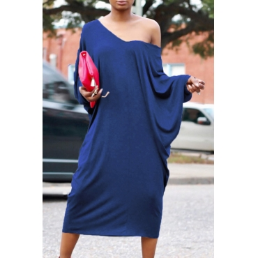 Casual V Neck Hollow-out Blue Polyester Mid Calf Dress