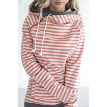 Lovely Casual Hooded Collar Striped Orange Cotton Blends Hoodies