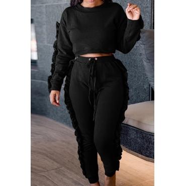 Euramerican Round Neck Ruffle Design Black Polyester Two-piece Pants Set