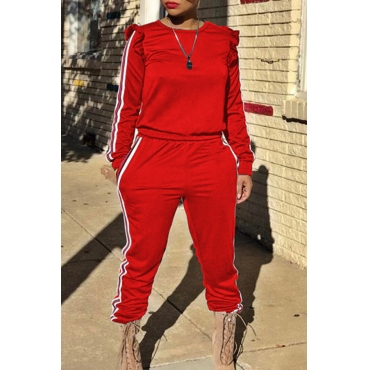 Casual Round Neck Striped Red Blending Two-piece Pants Set
