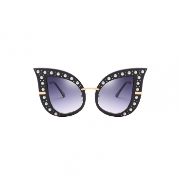 Fashion Pearl Decoration Black PC Sunglasses
