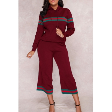 Euramerican Hooded Collar Striped Red Polyester Two-piece Pants Set