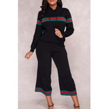 Euramerican Hooded Collar Striped Black Polyester Two-piece Pants Set
