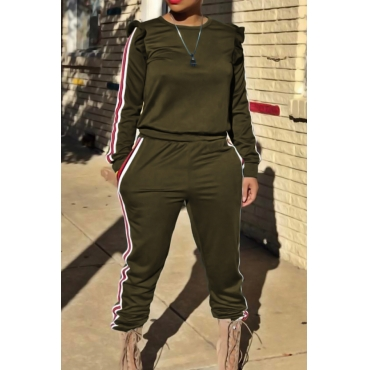 Casual Round Neck Striped Army Green Blending Two-piece Pants Set