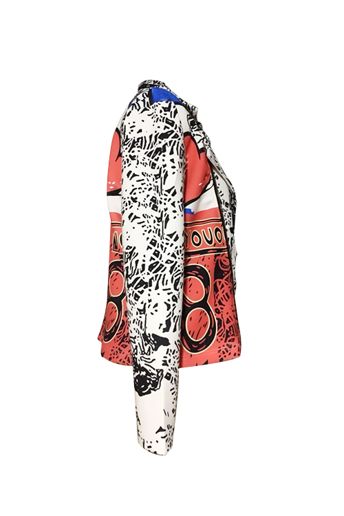 Chic Turndown Collar Long Sleeves Printed Polyester Zipped Coat