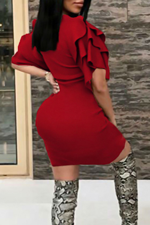 Vestido De Longitud De La Rodilla De Poliéster Rojo Sexy Cuello Redondo Mangas De La Colmena