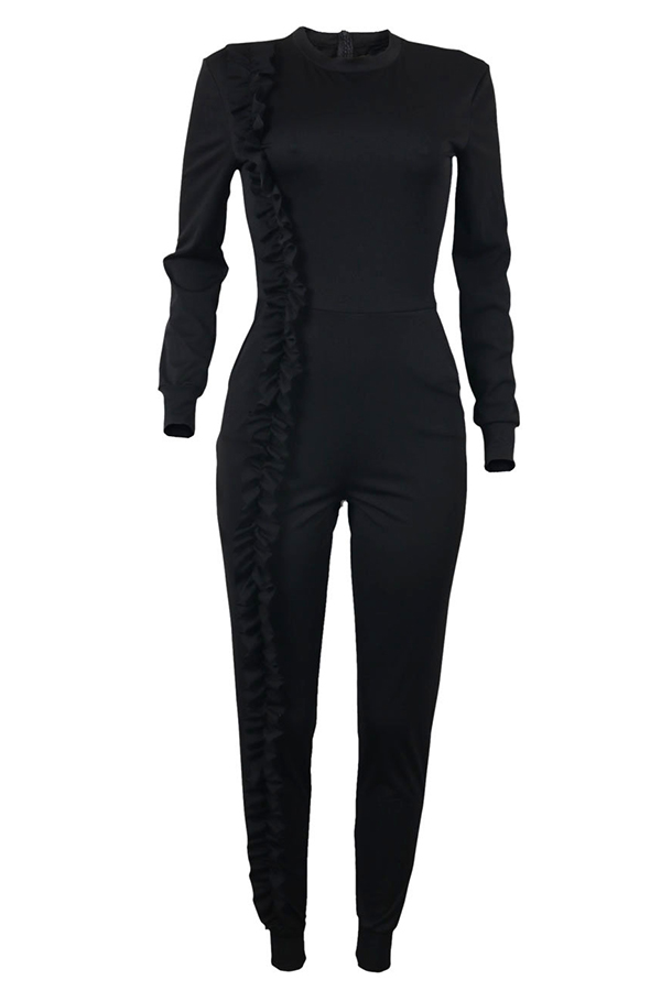 Fashionable Round Neck Ruffle Patchwork Black Polyester One-piece Jumpsuits