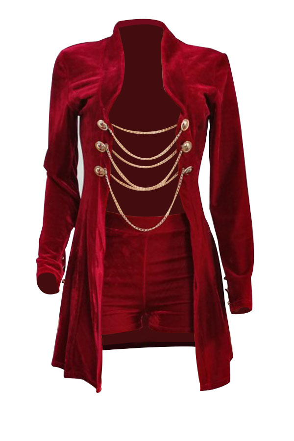Sexy Turndown Collar Chains Decoration Red Velvet Two-piece Short Set