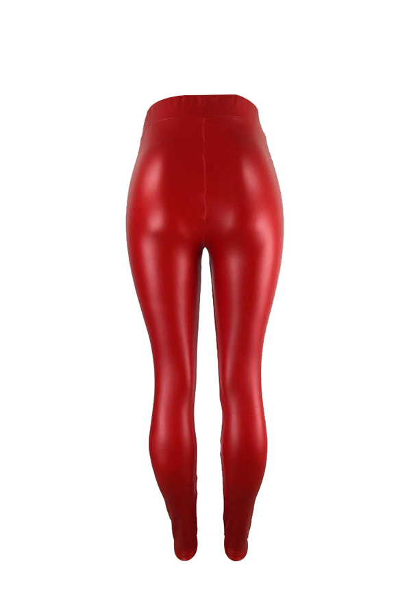 Euramerican High Elastic Waist Red Leather Pants