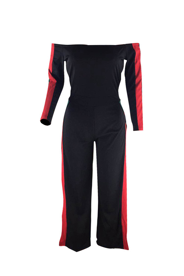 Lovely Leisure Bateau Neck Slit Design Black Polyester One-piece Jumpsuits