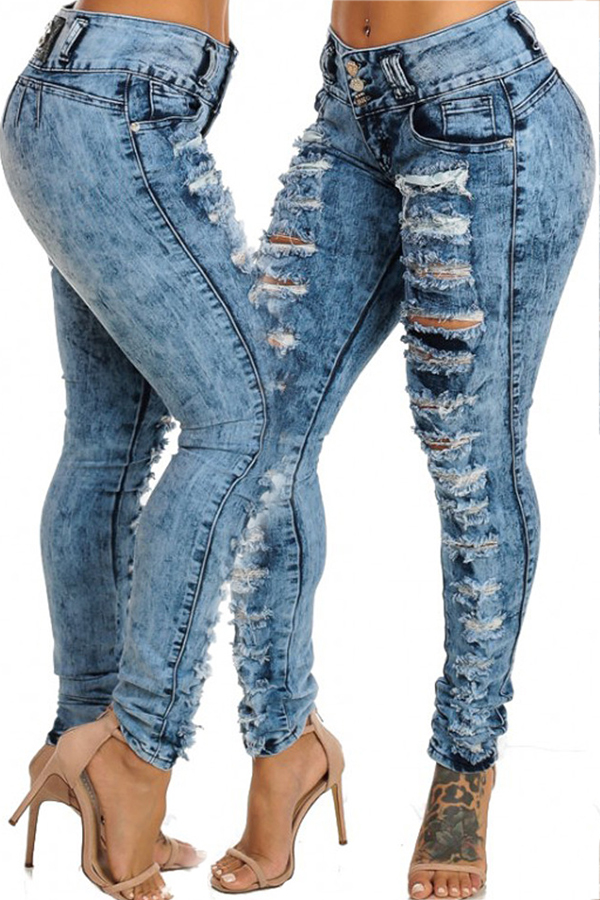 Fashionable Mid Waist Broken Holes Blue Denim Zipped Pants