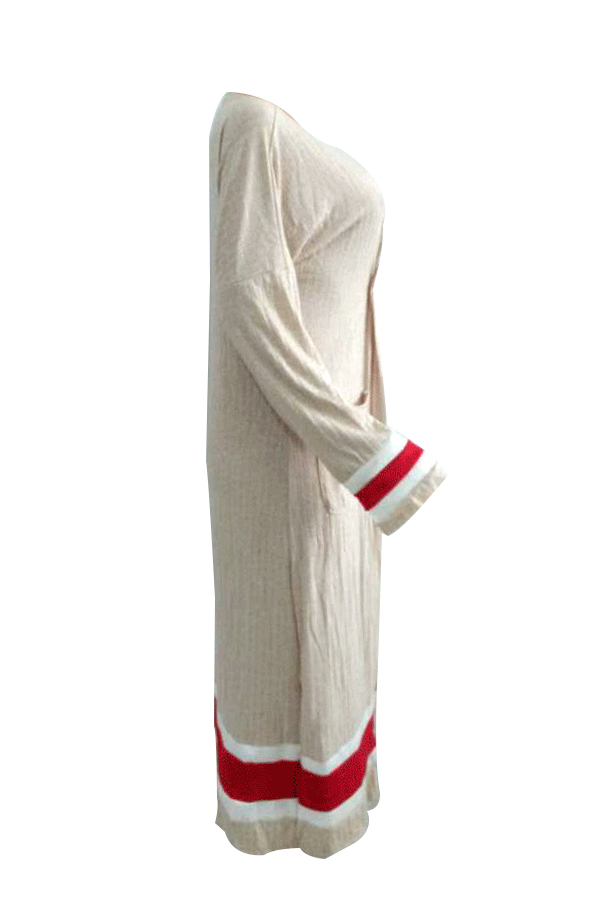 Stylish V Neck Patchwork Apricot Polyester Long Coat