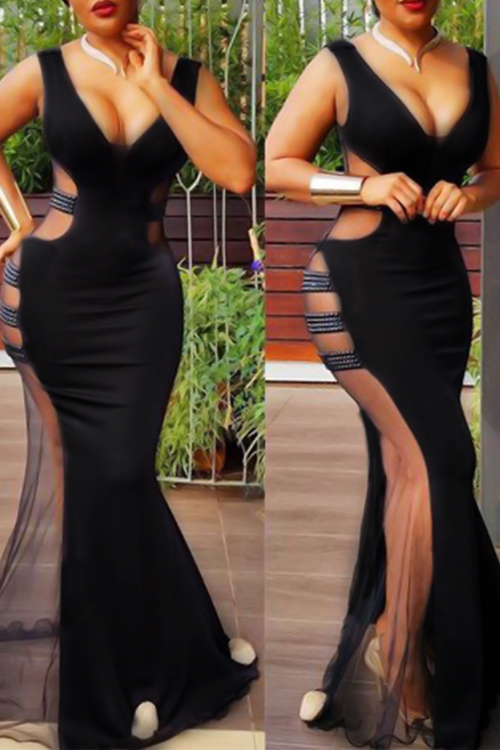 Sexy V Neck See-Through Black Polyester Floor length Dress