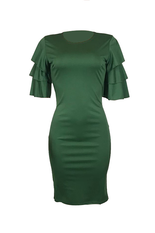 Sexy Round Neck Ruffle Sleeves Green Polyester Knee Length Dress