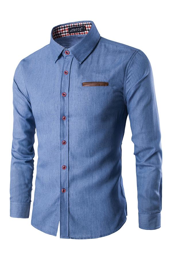 Stylish Turndown Collar Long Sleeves Baby Blue Denim Shirts<br>