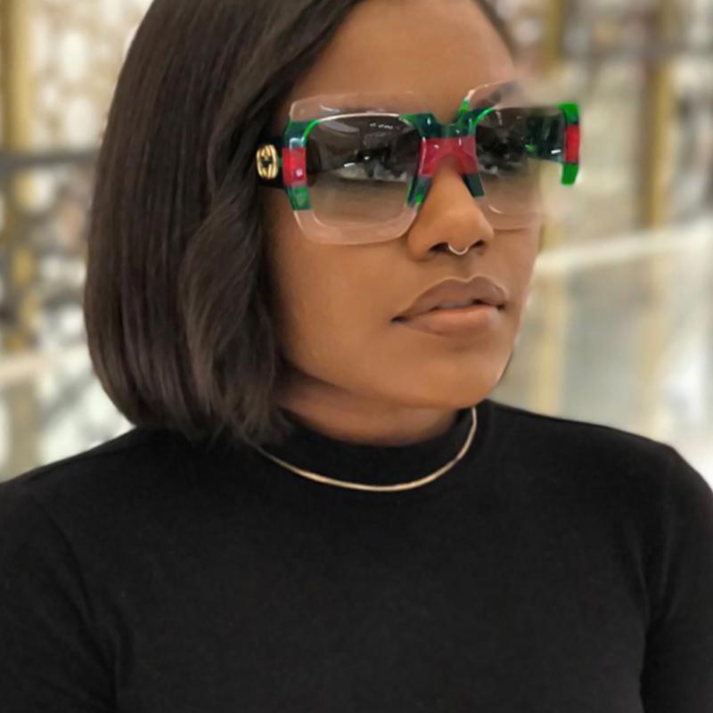 Óculos De Sol Elegantes Para PC Verdes Listrados