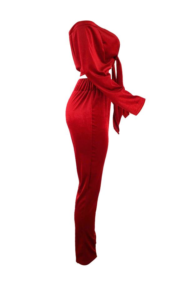 Casual Bateau Neck Knot Design Red Cotton Two-piece Pants Set