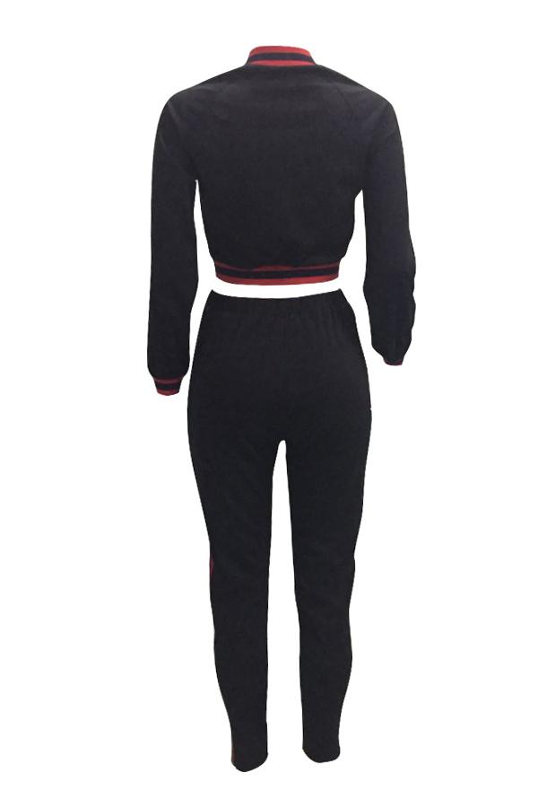 Casual Mandarin Collar Patchwork Black Knitting Two-Piece Pants Set