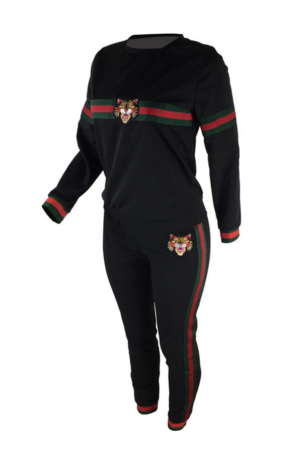 Conjunto De Pantalones De Dos Piezas De Poliéster Negro De Patchwork Cuello Redondo Casual