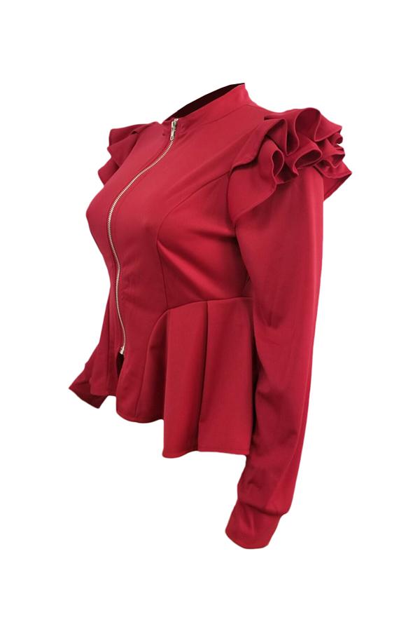 Fashionable V Neck Shrug Ruffle Patchwork Red Polyester Zipped Coat