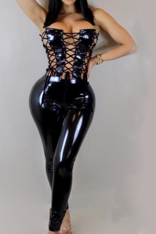 Сексуальные Без Бретелек Кружевные Вышитые Черные Кожаные Цельные Комбинезоны