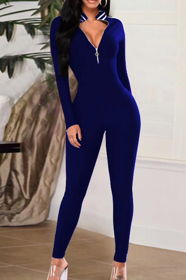 Sexy V Neck Zipper Design Striped Patchwork Royalblue Cotton Blends One-piece Jumpsuits