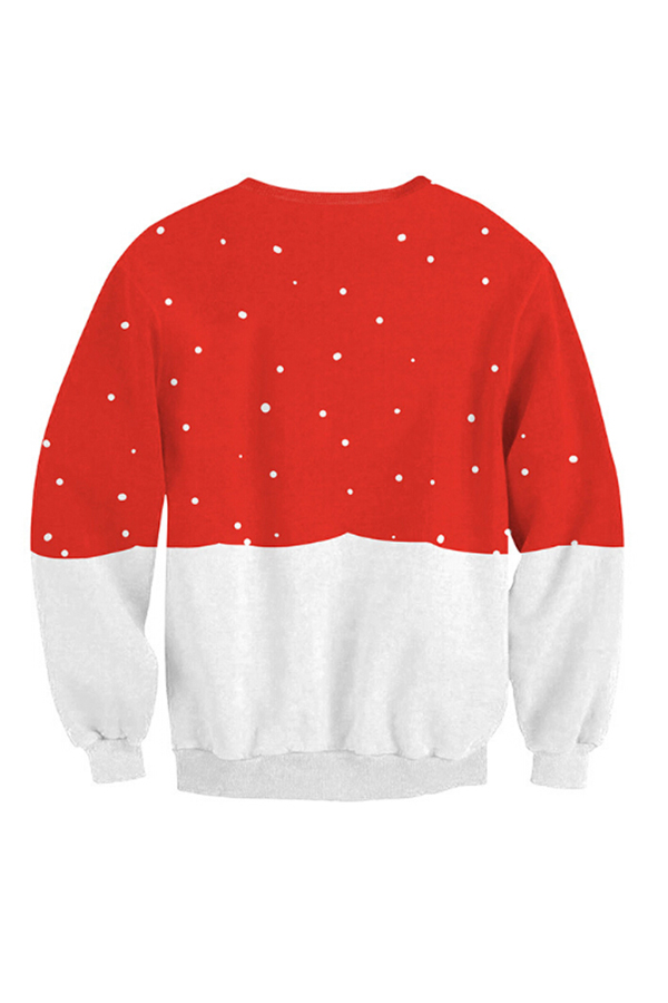Casual Round Neck Christmas Printed Red-White Patchwork Polyester Hoodies