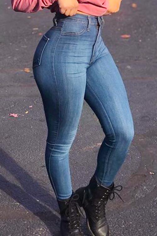 Euramerican High Waist Zipper Design Blue Denim Pants