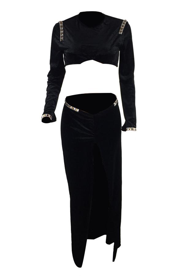 Sexy V Neck Side Slit Black Velvet Two-piece Skirt Set