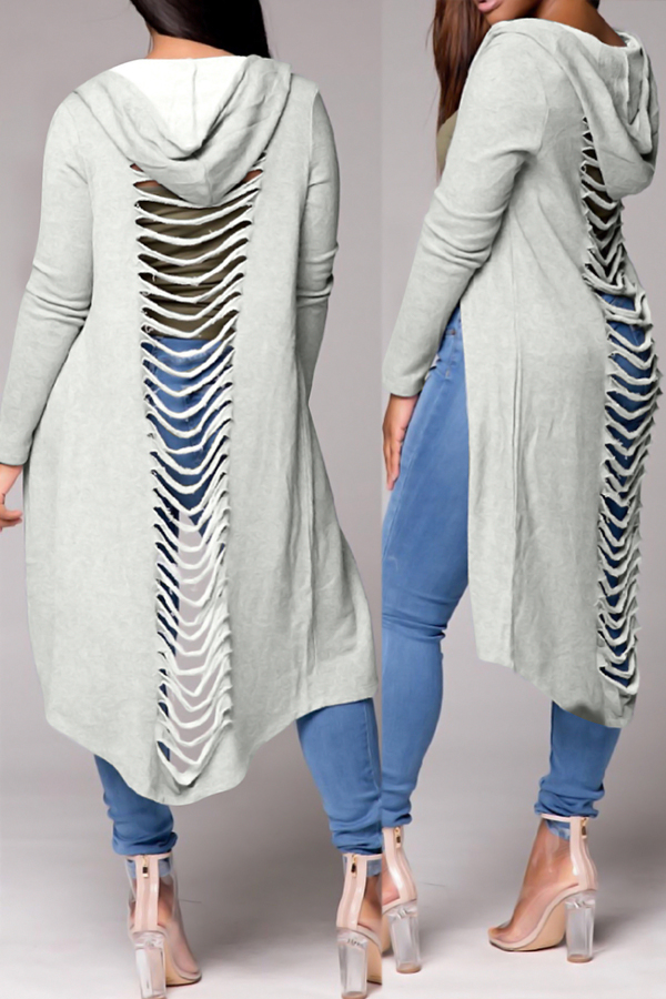 Casual Hooded Collar Hollow-out Light Grey Polyester Coat