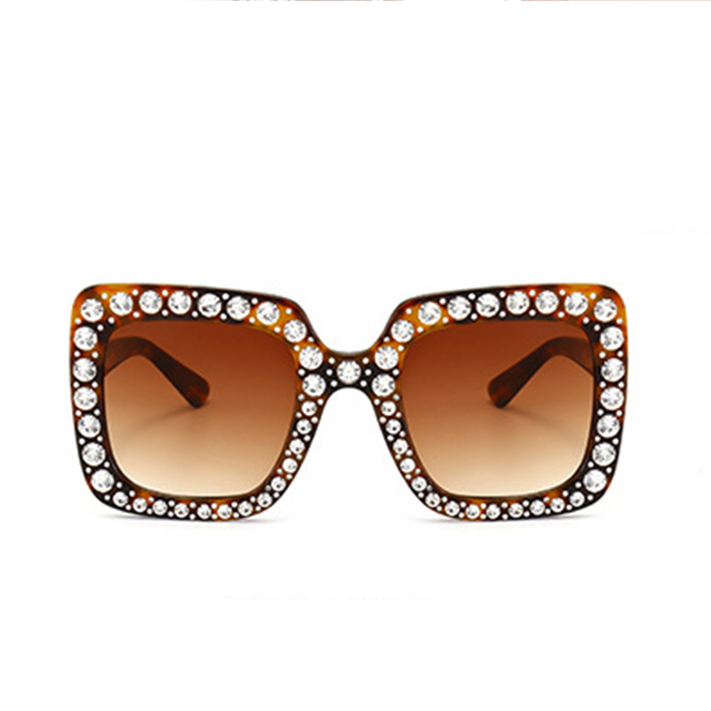 Moda Diamante Decorativo Leopardo Marco Cuadrado PC Gafas De Sol