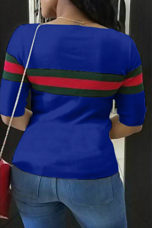 LovelyCasual Round Neck Striped Patchwork Blue Cotton T-shirt