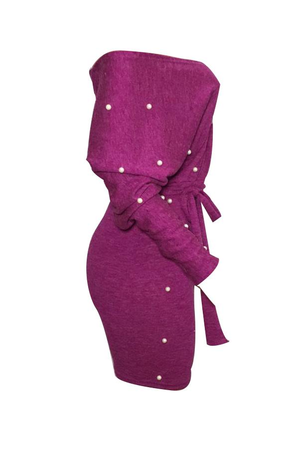 Vestido De Bodycon Morado Con Cuello En V Sin Costuras Y Decoración En Perlas Sin Respaldo (con Cinturón)